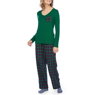 Liz Claiborne Womens Long Sleeve 3-Piece Pajama Pant Set