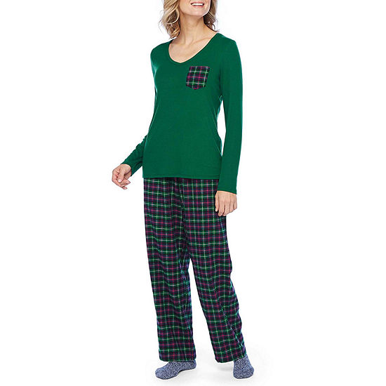 Liz Claiborne Womens Long Sleeve 3-pc. Pajama Pant Set