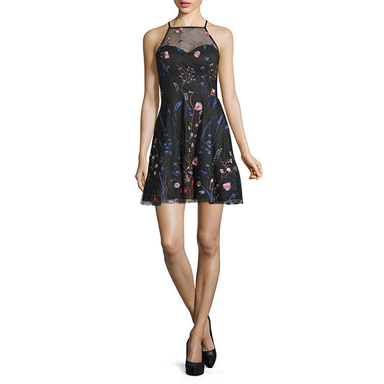 My Michelle Sleeveless Embroidered FIt & Flare  Dress - Juniors