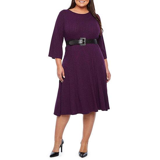 Ronni Nicole 3/4 Sleeve Fit & Flare Dress-Plus