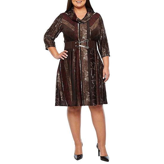 Robbie Bee-Plus 3/4 Sleeve Animal Midi Fit & Flare Dress