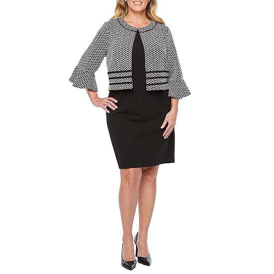 Perceptions 3/4 Bell Sleeve Jacket Dress-Plus