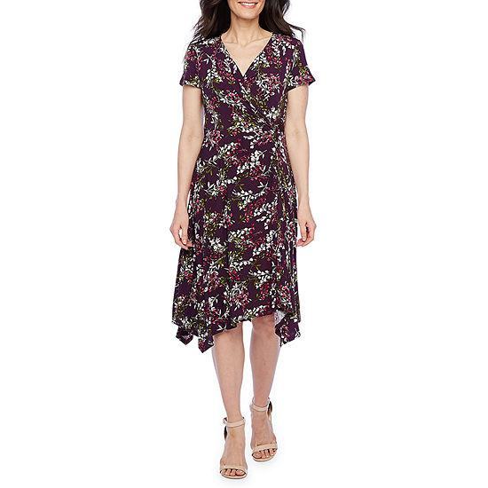 Perceptions-Petite Short Sleeve Floral Midi Sheath Dress
