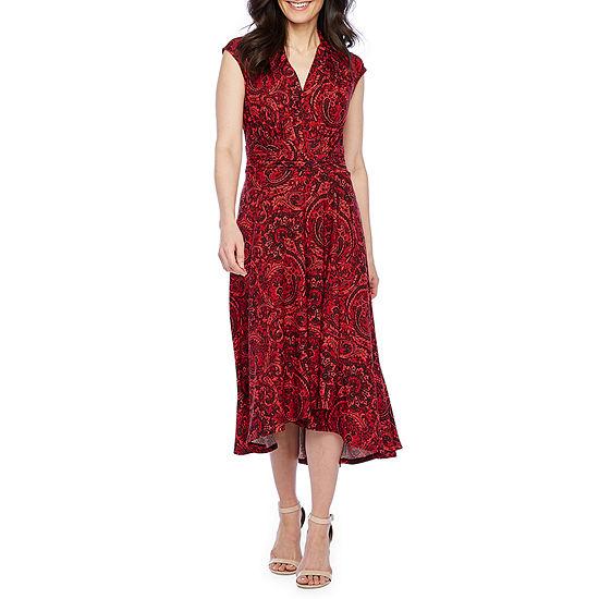 Perceptions Cap Sleeve Paisley Fit & Flare Dress-Petite