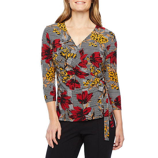 Black Label by Evan-Picone Womens V Neck 3/4 Sleeve Blouse