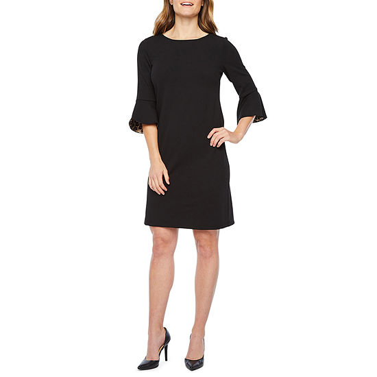 Liz Claiborne 3/4 Bell Animal Lined Sleeve Sheath Dress