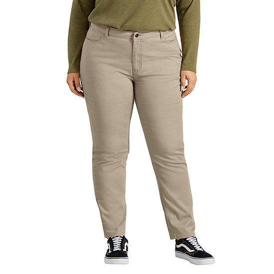 Dickies Perfect Shape Skinny Twill 4-Pocket Womens Mid Rise Slim Pant-Plus
