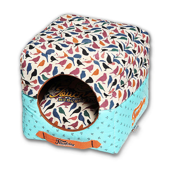 The Pet Life Touchdog Convertible and Reversible Squared 2-in-1 Collapsible Pet House Bed
