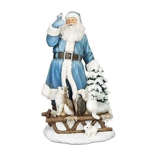 Roman Santa With Animals On Sleigh Figurine