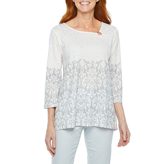 Hearts Of Palm Steeling The Scene-Womens Asymmetrical Neck 3/4 Sleeve T-Shirt