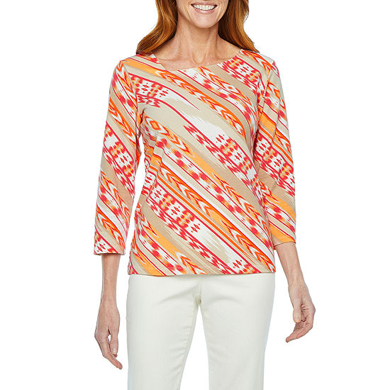 Hearts Of Palm Off Tropic-Womens Asymmetrical Neck 3/4 Sleeve T-Shirt
