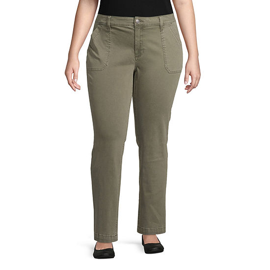St. John's Bay Womens Straight Fit Straight Trouser-Plus