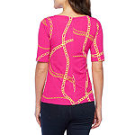 Bold Elements Chained Melody Asymmetrical Neck Short Womens Sleeve Blouse