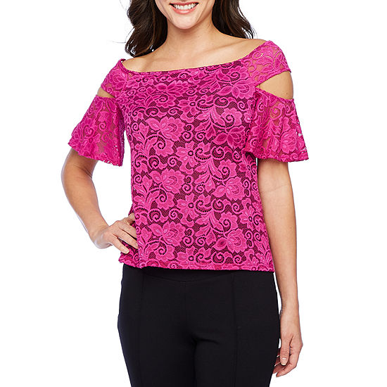 Bold Elements Womens Short Sleeve Lace Blouse