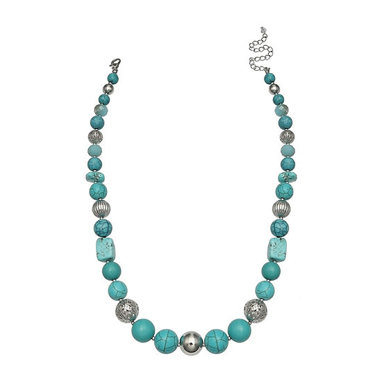 Mixit Short Womens Stabilized Beaded Necklace