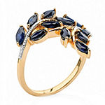 Womens Diamond Accent Genuine Blue Sapphire 18K Gold Over Silver Cocktail Ring