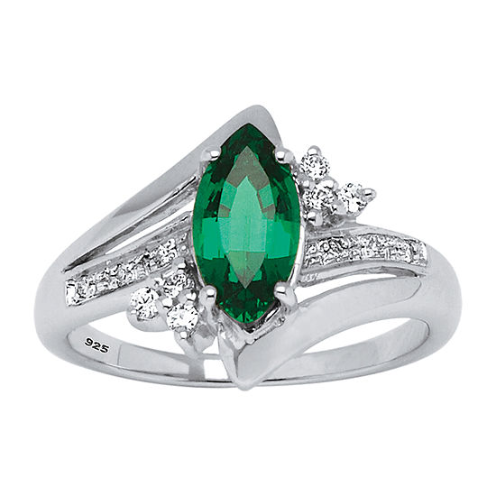 Womens Lab Created Green Emerald Platinum Over Silver Cocktail Ring