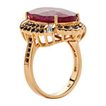 Womens Lead Glass-Filled Red Ruby 14K Gold Over Silver Cocktail Ring
