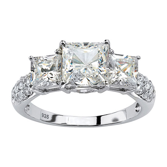 Womens Lab Created White Sapphire Platinum Over Silver Cocktail Ring
