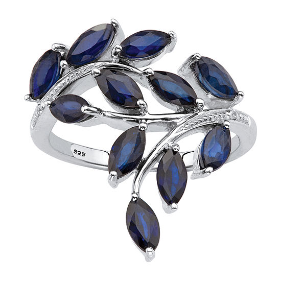 Womens Diamond Accent Genuine Blue Sapphire Platinum Over Silver Cocktail Ring