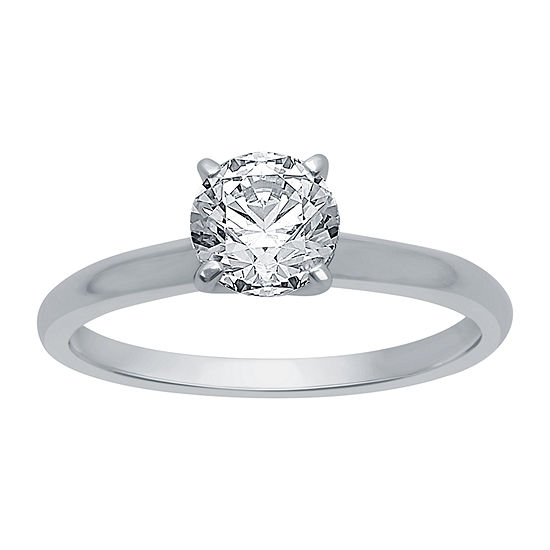 Womens 1 CT. T.W. Genuine White Diamond 14K White Gold Round Solitaire Engagement Ring