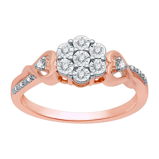Diamond Blossom Womens 1/10 CT. T.W. Genuine Diamond 14K Rose Gold Over Silver Sterling Silver Cluster Cocktail Ring