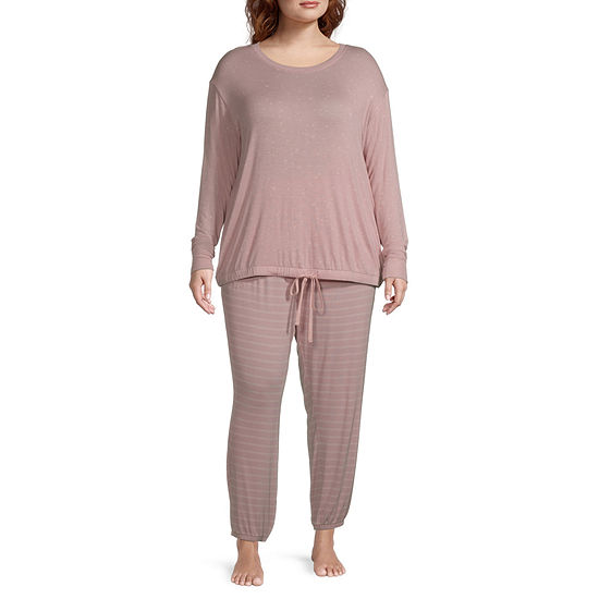 Ambrielle Womens-Plus Long Sleeve Pant Pajama Set 2-pc.