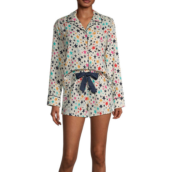 Sleep Chic Long Sleeeve Womens Shorts Pajama Set 2-pc.