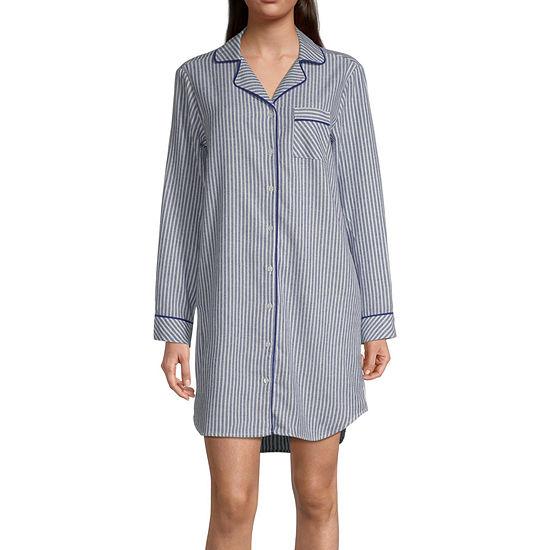 Liz Claiborne Womens Long Sleeve Flannel Nightshirt
