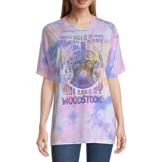 Juniors Woodstock Oversized Short Sleeve Graphic T-Shirt