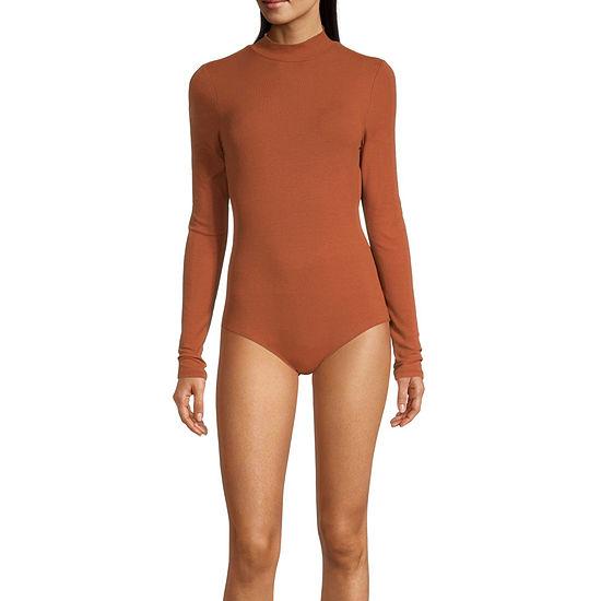Self Esteem Womens Mock Neck Long Sleeve Bodysuit-Juniors