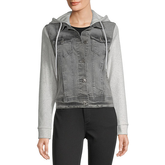 Wallflower-Juniors Womens Long Sleeve Denim Hoodie