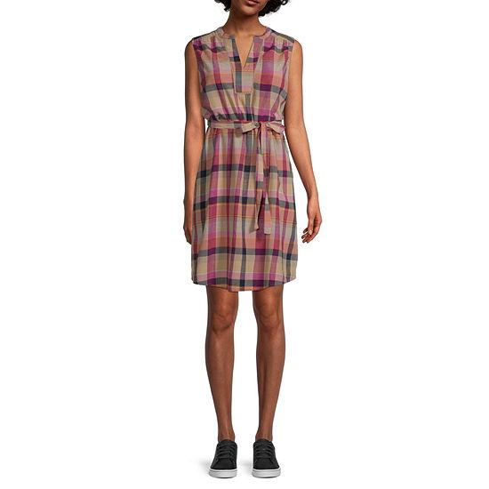 St. John's Bay Sleeveless Plaid Shift Dress