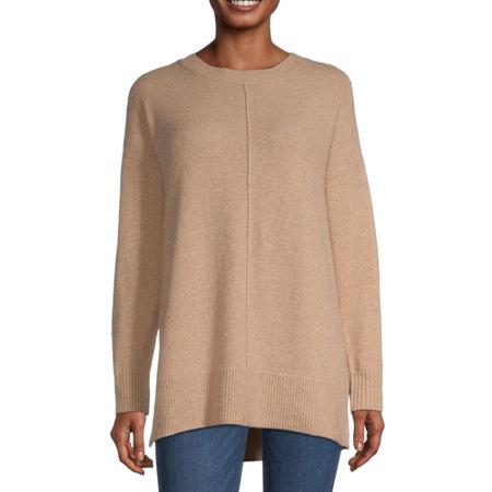 a.n.a Womens Crew Neck Long Sleeve Pullover Sweater, Medium , Beige