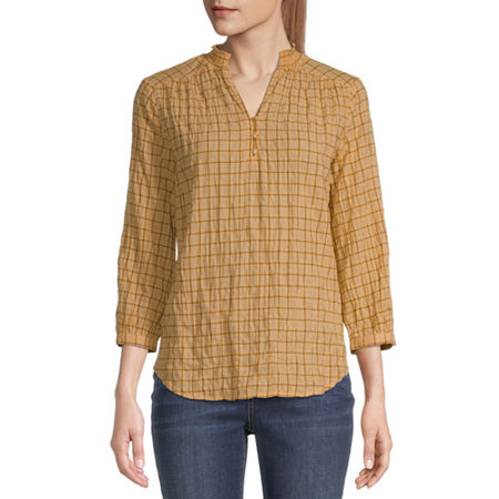 St. John's Bay Womens 3/4 Sleeve Blouse, X-large , Yellow