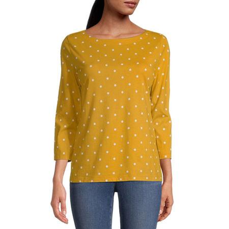 St. John's Bay-Womens Boat Neck 3/4 Sleeve T-Shirt, Medium , Yellow