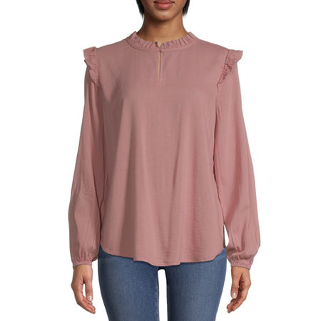 St. John's Bay Womens Mock Neck Long Sleeve Blouse, X-small , Pink