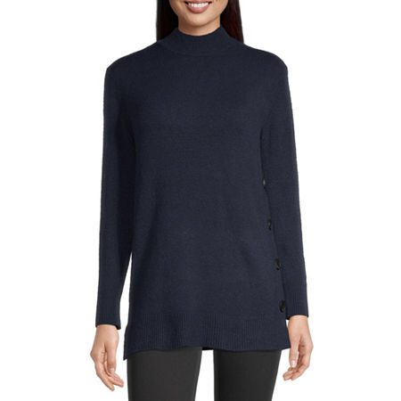 Liz Claiborne Womens Mock Neck Long Sleeve Pullover Sweater, X-small , Blue