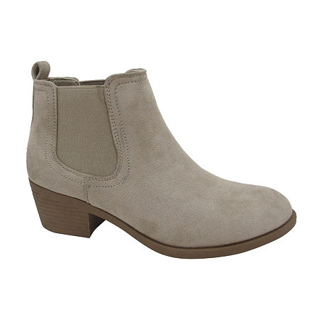 Pop Womens Emmy Block Heel Booties, 8 Medium, Beige