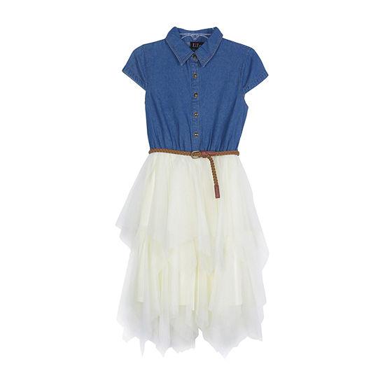 Lilt Little & Big Girls Belted Short Cap Sleeve Party Dress