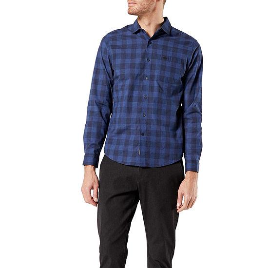 Dockers Spread Collar Mens Long Sleeve Plaid Button-Down Shirt