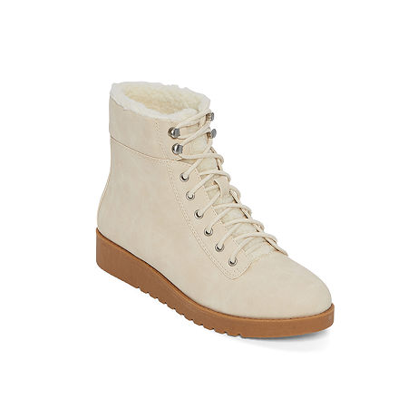 Vintage Winter Retro Boots – Snow, Rain, Cold a.n.a Womens Francisco Lace Up Boots Flat Heel 11 Medium White $39.99 AT vintagedancer.com