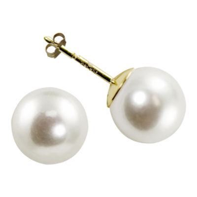 Certified Sofia™ 10K Gold 8-8.5mm Cultured Freshwater Pearl Stud Earrings
