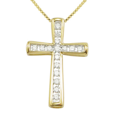 ¼ CT. T.W. Diamond 10K Yellow Gold Cross Pendant Necklace