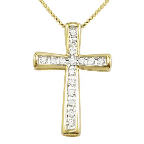 ¼ CT. T.W. Diamond 10K Yellow Gold Cross Pendant Necklace