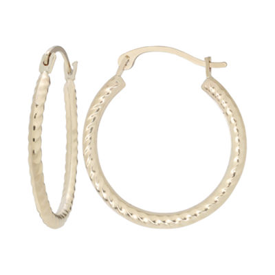 10K Gold Rope Hoop Earrings