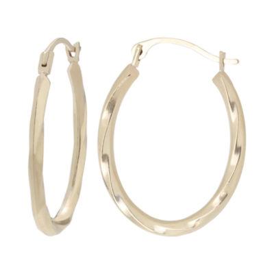 10K Gold Twist Oval Hoop Earrings