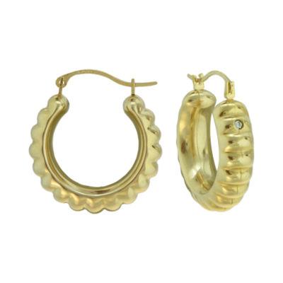 14K Yellow Gold Over Resin Scalloped Hoop Earrings