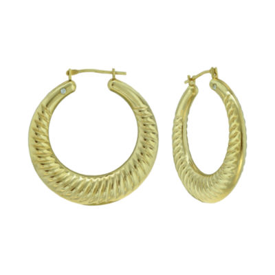 Prestige Gold™ 14K Yellow Gold Over Resin Ribbed Hoop Earrings