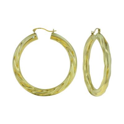 Prestige Gold™ 14K Yellow Gold Over Resin Twist Hoop Earrings